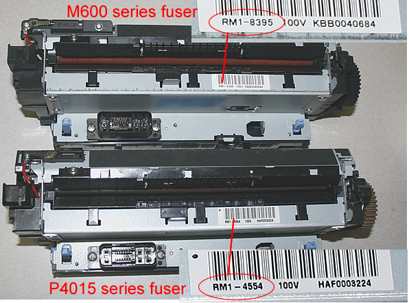 fuser comparison differences barcode HP LaserJet M601 M602 M603 P4014 P4015