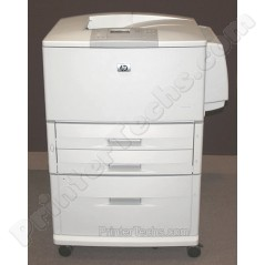 LaserJet 9050dtn with optional 2000-sheet feeder and optional manual feed tray installed