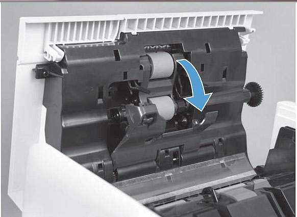Installing ADF pickup roller and separation pad HP Color LaserJet