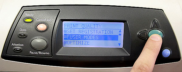 Turning up the fuser temperature on an HP LaserJet